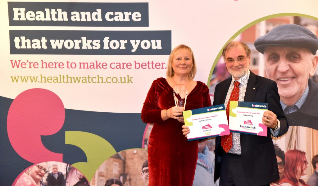 CTCIC CEO Kate Holt and Healthawtch Northamptonshire Chair Dr David N Jones with the  awards